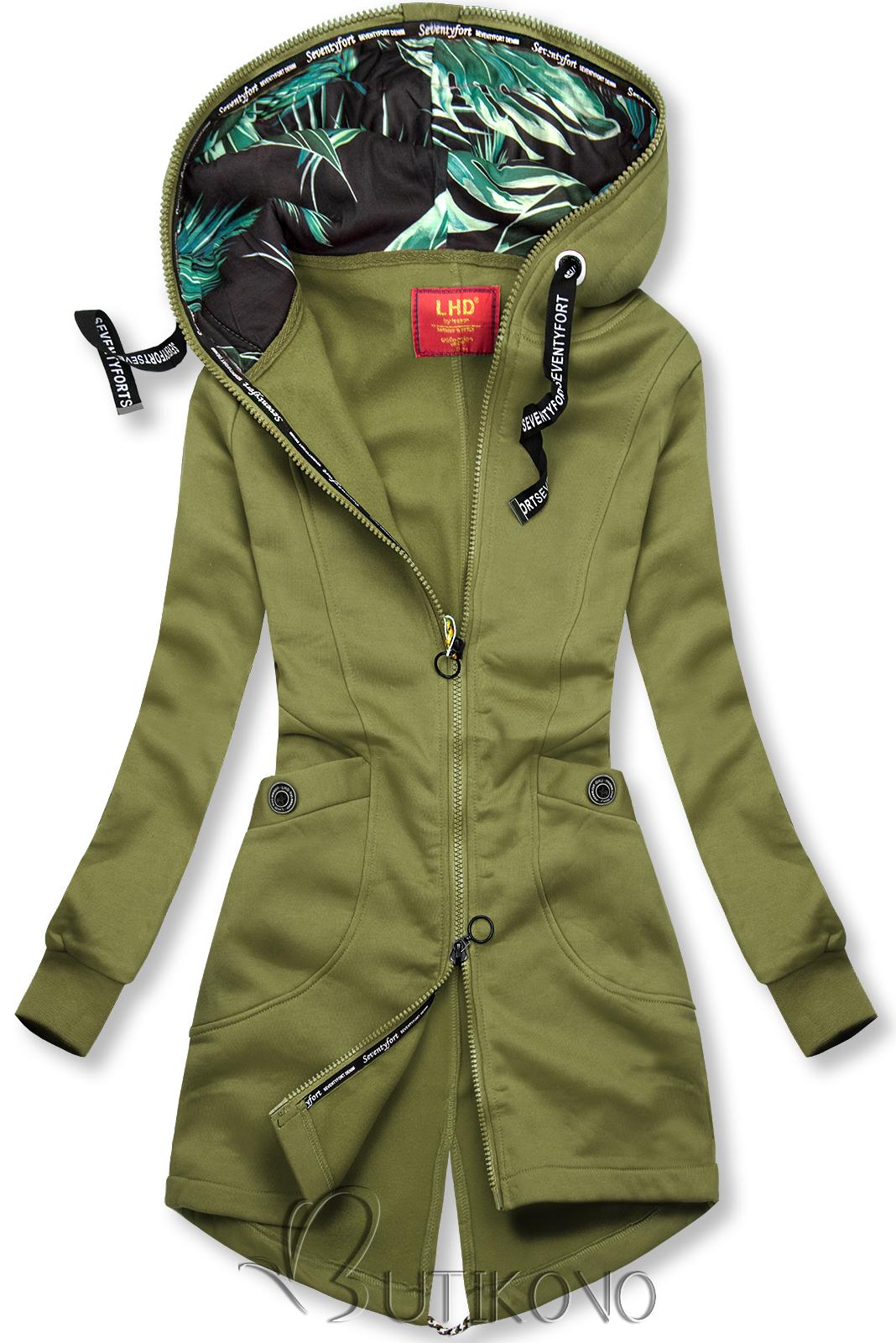 Khaki mikina se vzorovanou kapucí