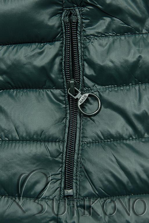 Oboustranná bunda s květinovým futrem zelená