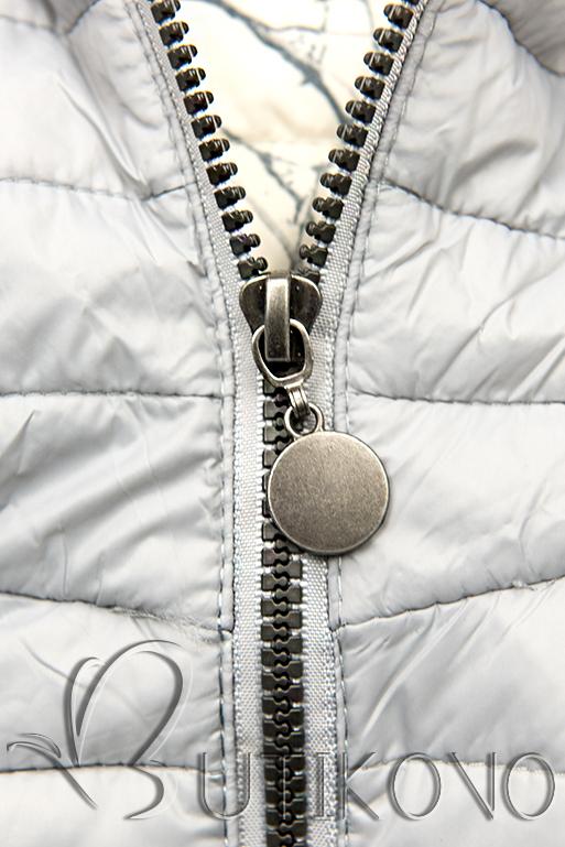 Světle šedá prošívaná bunda se vzorovanou podšívkou