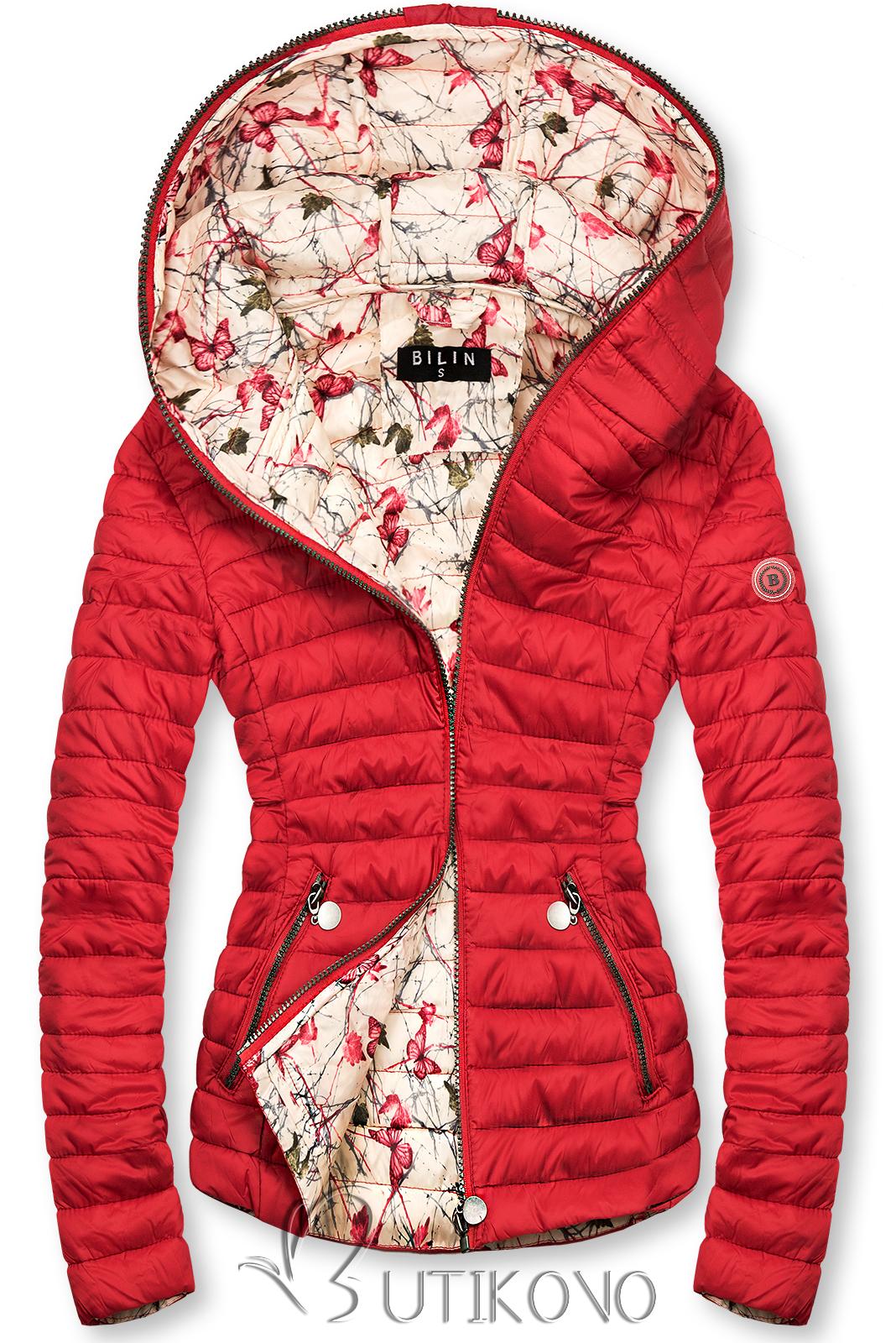 Červená prošívaná bunda se vzorovanou podšívkou