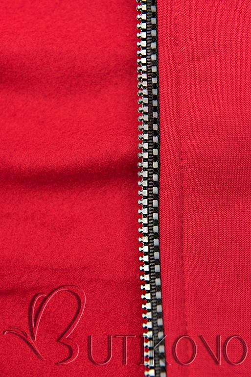 Tepláková souprava s kapucí červená/černá