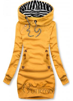 Žlutá dlouhá mikina s kapucí