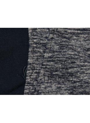 Tmavě modrá mikina s kontrastním zipem