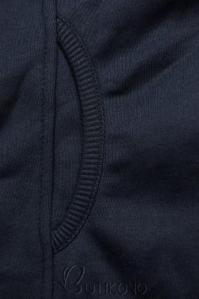 Tmavě modrá prodloužená mikina na zip