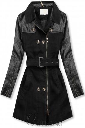 Černý kabát/trenčkot M206
