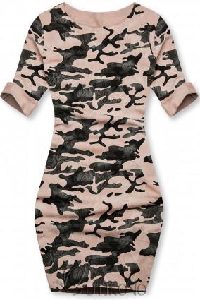 Růžové ležérní army šaty