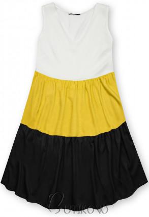 Letní šaty z viskózy bílá/žlutá/černá