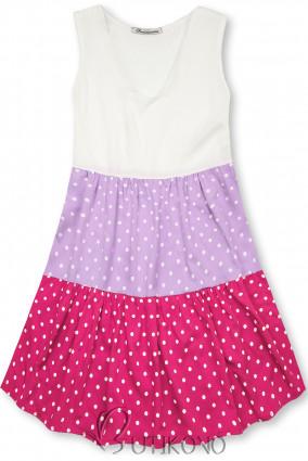 Tečkované šaty z viskózy bílá/lila/růžová