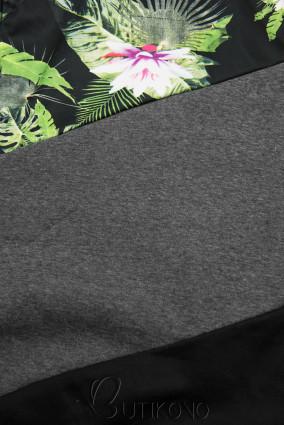 Grafitová/černá květinová mikina