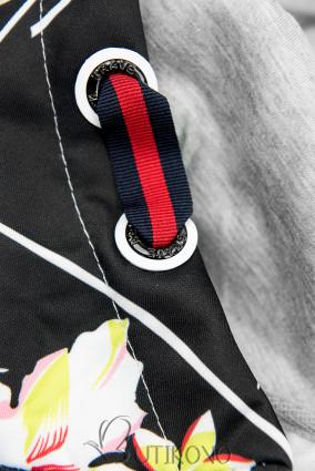 Šedá/černá květinová mikina