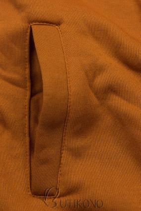 Skořicově hnědá mikina v asymetrickém střihu
