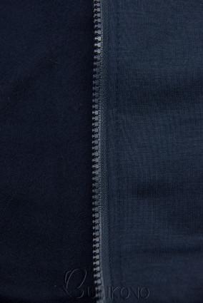 Tmavě modrá mikina s dvoucestným zipem
