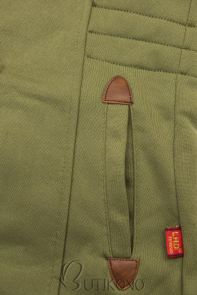 Khaki mikina s tvarovaným pasem