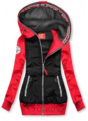 Černo-červená kombinovaná sportovní mikina