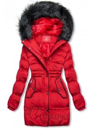 Červená zimní bunda se stahováním v pase