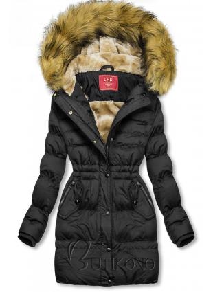 Černá zimní bunda se stahováním v pase