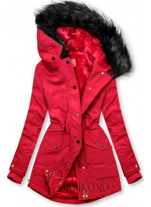 Červená bunda zateplena plyšem