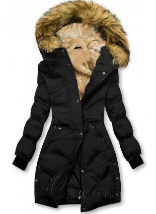 Černá prošívaná zimní bunda