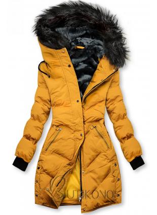 Žlutá prošívaná zimní bunda