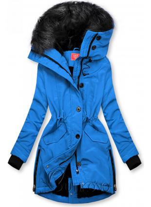 Kobaltově modrá zimní bunda s vysokým límcem
