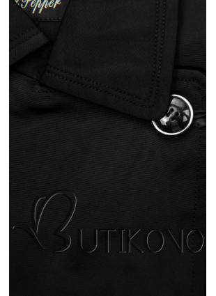Černý trenčkot s páskem na zavazování