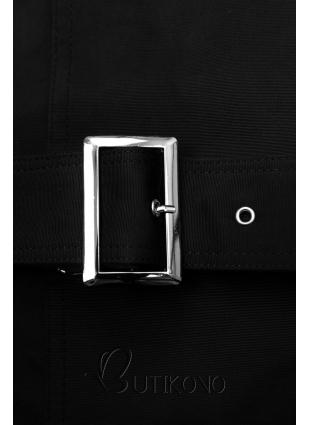 Černý trenčkot s páskem s přezkou
