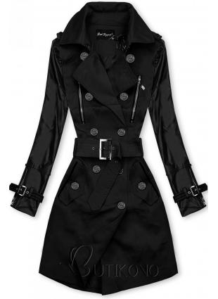 Černý trenčkot s koženkovými rukávy