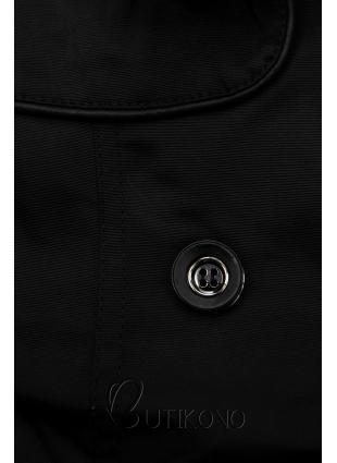 Černý trenčkot s koženkovými detaily