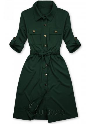 Tmavě zelené košilové šaty