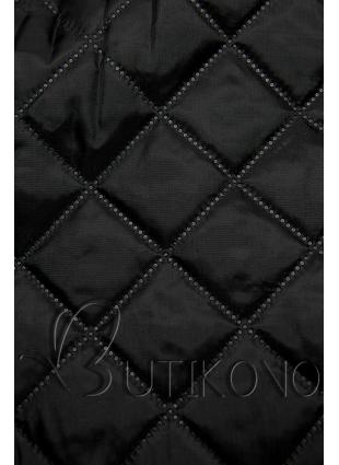 Grafitový kabát s koženkovými detaily