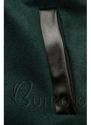 Tmavě zelený kabát s koženkovými detaily