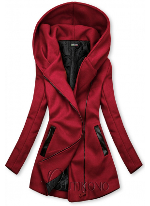 Bordó kabát s koženkovými detaily