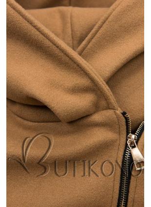 Hnědý kabát s koženkovými detaily