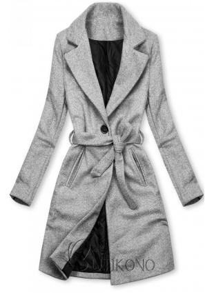 Šedý kabát na zavazování