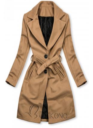 Camel hnědý kabát na zavazování