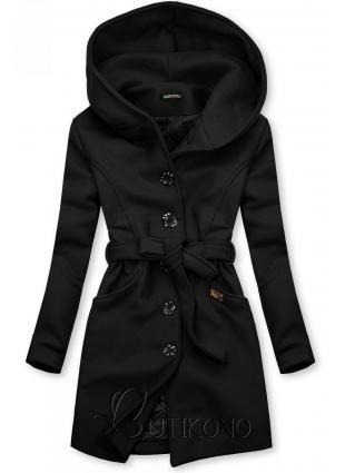 Černý kabát s kapucí