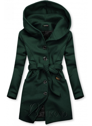 Zelený kabát s kapucí