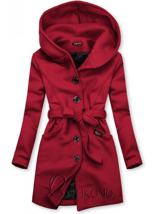 Bordó kabát s kapucí