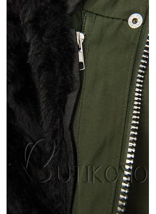 Zimní parka s odnímatelnou podšívkou khaki/černá
