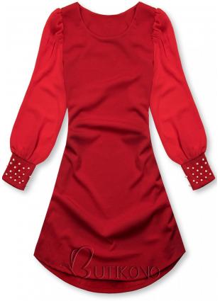 Červené elegantní šaty v A-střihu