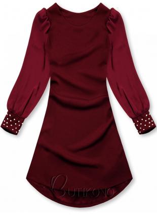 Bordó elegantní šaty v A-střihu
