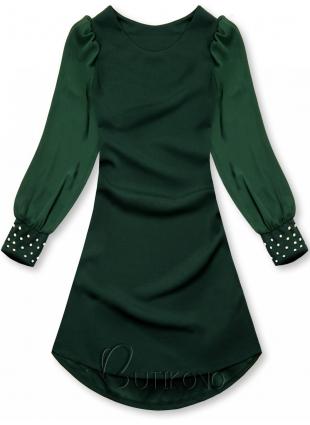 Zelené elegantní šaty v A-střihu