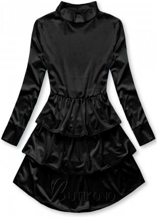 Černé sametové šaty s volány
