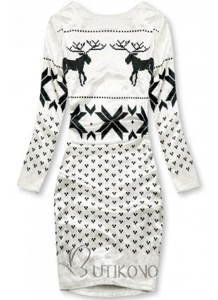 Bílé sametové vánoční šaty