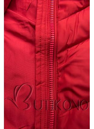 Červená prodloužená bunda s páskem