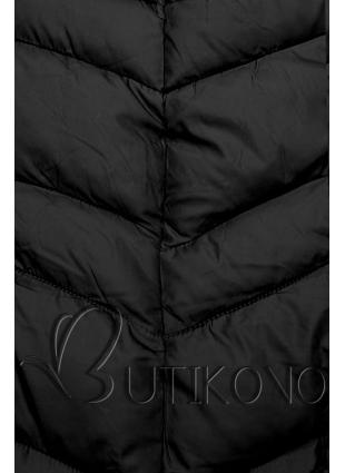 Černá prodloužená bunda s páskem