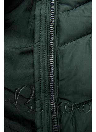 Tmavě zelená prodloužená bunda s páskem