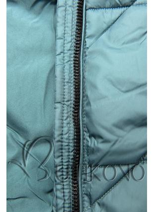 Tyrkysově zelená prošívaná bunda na podzim/zimu