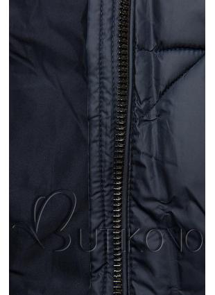 Tmavě modrá prošívaná bunda na podzim/zimu