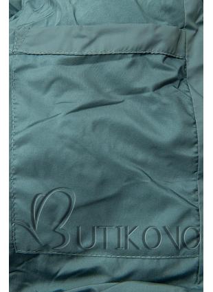 Tyrkysově zelená dlouhá prošívaná bunda